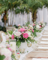 table settings with various pink flowers