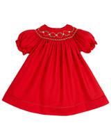 winter flower girl red short puffy sleeved dress