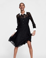 black lace zara dress with white collar