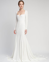 long sleeves squared neckline train trumpet wedding dress Lover of Mine by Alexandra Grecco Spring 2020