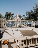 groom baraat ride in military vehicle