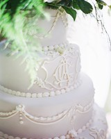 White Monogrammed Wedding Cake