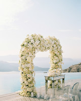 angie prayogo greece wedding outdoor ceremony arch