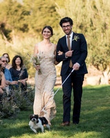 anika max wedding processional couple with dog on leash
