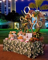 becca zac wedding desserts table