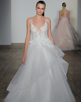 blush hayley paige fall 2019 spaghetti strap v-neck ballgown with embroidered flowers