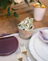 brooke dalton wedding place card plants