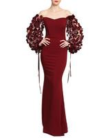 burgundy floral sleeve gown