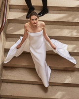 Carolina Herrera wedding dress spring 2019 strapless sheath with cape