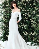 carolina herrera off the shoulder three quarter length sleeves trumpet wedding dress spring 2020
