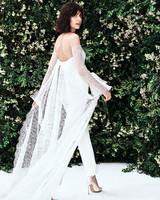 carolina herrera off the shoulder lace train pants wedding dress spring 2020