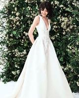 carolina herrera sleeveless v neck a line wedding dress spring 2020