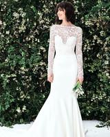 carolina herrera sweetheart long sleeves lace wedding dress spring 2020