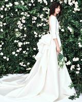 carolina herrera a line ruffles three quarter length sleeves wedding dress spring 2020
