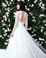 carolina herrera long sleeves open back tulle wedding dress spring 2020