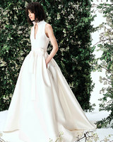 carolina herrera deep v satin ballgown wedding dress spring 2020