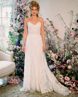 strapless sweetheart exposed boning lace train a-line wedding dress Claire Pettibone Spring 2020