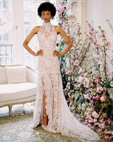 high-neck sleeveless lace front slit a-line wedding dress Claire Pettibone Spring 2020