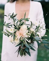 cool dahlia wedding bouquet