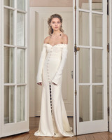 danielle frankel wedding dress spring 2019 long-sleeved sheath with buttons