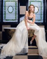 danielle frankel wedding dress spring 2019 sheer black bust pants with panels