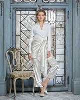 danielle frankel wedding dress spring 2019 cropped pants jacket with sash