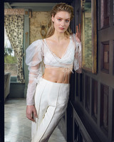 danielle frankel wedding dress spring 2019 cropped wrap sleeved top with pants