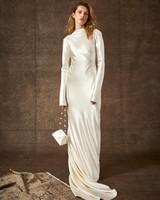 high-neck long sleeve sheath wedding dress Danielle Frankel Spring 2020