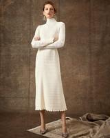 ribbed high-neck long sleeve tea length wedding dress Danielle Frankel Spring 2020