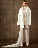 sheer high neck top pants with trench like coat wedding set Danielle Frankel Spring 2020