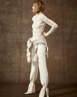 scalloped long sleeve knit high-neck top and straight leg tied bottom pants wedding set Danielle Frankel Spring 2020