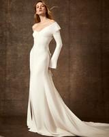off-the-shoulder long sleeve side slit train wedding dress Danielle Frankel Spring 2020