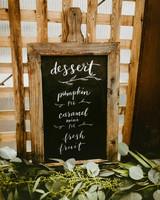 dessert menu ideas chalkboard sign greenery sketches