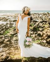 destination wedding dress lace off the shoulder