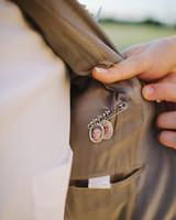 family photo pin inside tux jacket