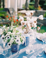 elizabeth scott wedding centerpieces white and blue flower vases