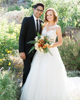 emily adhir wedding couple bouquet