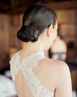 bride's sleek bun updo