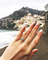 engagement ring selfie italian coast