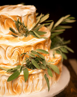 Wedding Cake with Green Leaves
