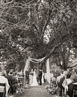 jen geoff wedding ceremony under trees