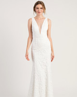 jenny by jenny yoo wedding dress deep v-neck trumpet sleeveless floral applique