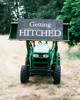 just married sign tractor getting hitched wedding