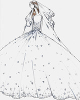 justin alexander wedding dress sketch