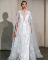 justin alexander sheer embroidered cape wedding dress spring 2020