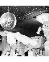 katie andre wedding bride crowd surf dance floor disco ball