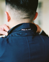 navy blue tux jacket embroidered wedding date
