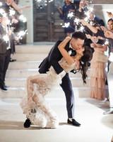 bride groom kiss sparkler send off