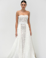 lee petra grebenau fall 2019 belted strapless exposed boning a-line gown with floral applique