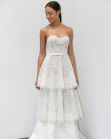 lee petra grebenau fall 2019 glittery belted strapless exposed boning tiered gown